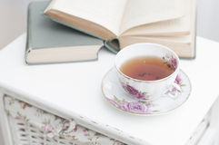 Breakfast with books and tea Stock Photography
