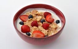 Breakfast bowl. A bowl of yogurt, cereal, strawberries, raspberries and blueberries Stock Image