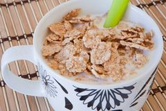 Breakfast bowl of cereal and milk Stock Photography