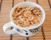 Breakfast bowl of cereal and milk Royalty Free Stock Images