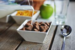Breakfast with bowl of chocolate cereal and milk Royalty Free Stock Image