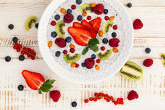 Breakfast bowl. Coconut chia pudding with fruits and berries Stock Image