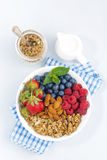 Breakfast bowl with fresh berries, granola and almond Royalty Free Stock Image