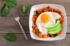 Breakfast bowl with sweet potato, egg, avocado and spinach over rustic wood Royalty Free Stock Images