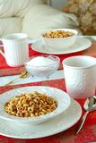 Breakfast Bowls of Cereal on a Pretty Table in the Morning Royalty Free Stock Images