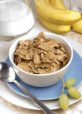 Breakfast Bran Flakes. With grapes and bananas Royalty Free Stock Photos