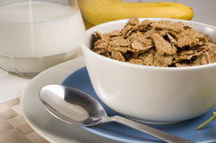 Breakfast Bran Flakes. With grapes and bananas Royalty Free Stock Images