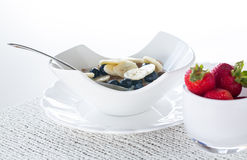 Breakfast of bran flakes blueberries Royalty Free Stock Photos