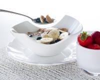 Breakfast of bran flakes blueberries Royalty Free Stock Photo