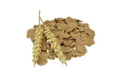 Breakfast bran flakes & wheat Royalty Free Stock Photo