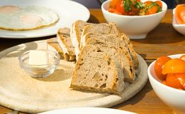 Breakfast with bread Stock Photography