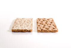 Breakfast bread. Two slices of swedish bread with a white background Royalty Free Stock Photography