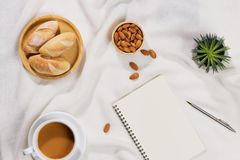 Breakfast with bread and black coffee composition. Breakfast with bread and black coffee composition Royalty Free Stock Photography