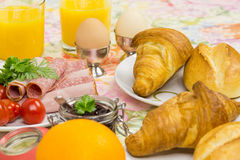 Breakfast bread egg cold cuts Stock Image