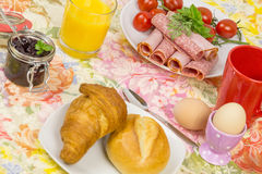 Breakfast bread egg cold cuts 11. Breakfast with bread roll, eggs and cold cuts Stock Image
