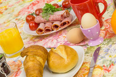 Breakfast bread egg cold cuts  Stock Photo