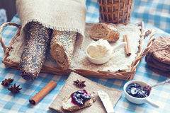 Breakfast with bread Royalty Free Stock Photography