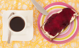 Breakfast with bread of jam Stock Photography