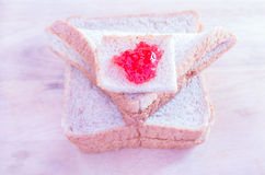 Breakfast with bread and jam Royalty Free Stock Photo