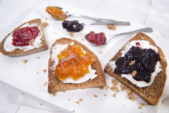 Breakfast bread and jam Stock Photo