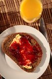 Breakfast - Bread, Jam and Juice Stock Photography