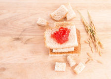 Breakfast with bread and jam Royalty Free Stock Image