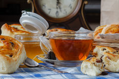 Breakfast with Bread Roll with raisins and cottage cheese fillin Stock Images