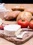 Breakfast with bread rolls and blu cheese Stock Image
