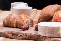 Breakfast with bread rolls and blu cheese Royalty Free Stock Photo