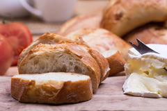 Breakfast with bread rolls and blu cheese Stock Images