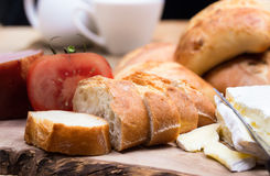 Breakfast with bread rolls and blu cheese Royalty Free Stock Images