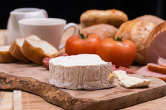 Breakfast with bread rolls and blu cheese and ham Royalty Free Stock Images