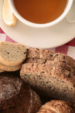 Breakfast with bread and tea. Royalty Free Stock Image