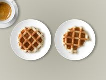Breakfast set of waffles and coffee. stock photography
