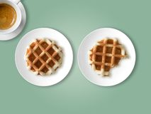 Breakfast set of waffles and coffee. royalty free stock images