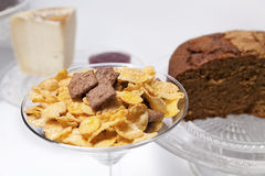 Breakfast or Brunch with cereals, cheese, and cakes Stock Photos