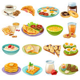 Breakfast Brunch Menu Food Icons Set. Breakfast brunch healthy start day options food realistic icons collection with coffee and fried eggs isolated vector Stock Photography