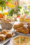 Table with delicatessen ready for Easter brunch Royalty Free Stock Photo