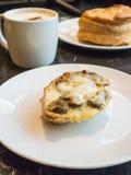 Breakfast. Bruschetta Mushroom Royalty Free Stock Image