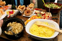 Breakfast buffet. Assorted breakfast platters used for a morning meal Stock Photo