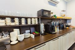 Free Breakfast Buffet In The Modern Hotel Motel Or Hostel During A Self Service Stock Photo - 103086820