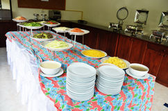 Breakfast Buffet in resort. Breakfast is the first meal taken after rising from a night's sleep, most often eaten in the early morning before undertaking the day royalty free stock photos