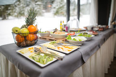 Breakfast buffet.Served for breakfast.Self-service all you can eat buffet Stock Images