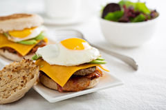 Breakfast burger with avocado, cheese and bacon Royalty Free Stock Photography