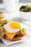 Breakfast burger with avocado, cheese and bacon Royalty Free Stock Images