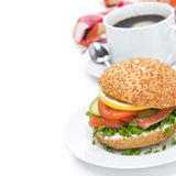 Breakfast - Burger With Salmon, Vegetables And Coffee Royalty Free Stock Images