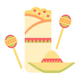 Breakfast Burrito. A breakfast burrito with Mexican elements including a sombrero and a pair of maracas Royalty Free Stock Photography