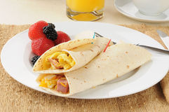 Breakfast burritos with strawberries Royalty Free Stock Photography