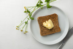 Breakfast butter and toast Stock Photography