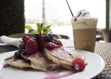 Breakfast of buttermilk pancakes with fresh berries Royalty Free Stock Image